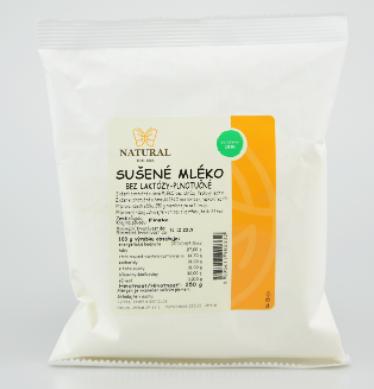 Sušené mléko bez laktózy plnotučné NATURAL 250 g