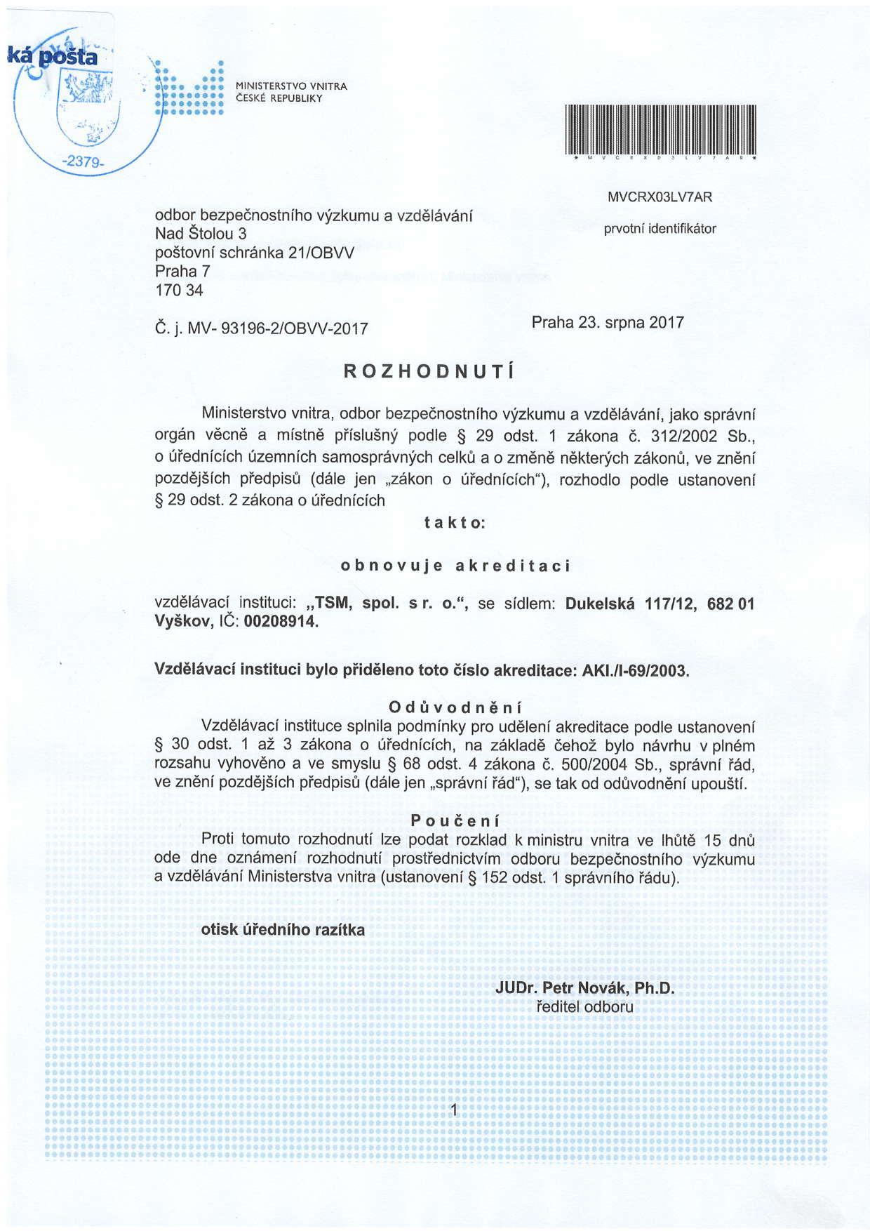 Akreditovaná vzdělávací instituce MV ČR