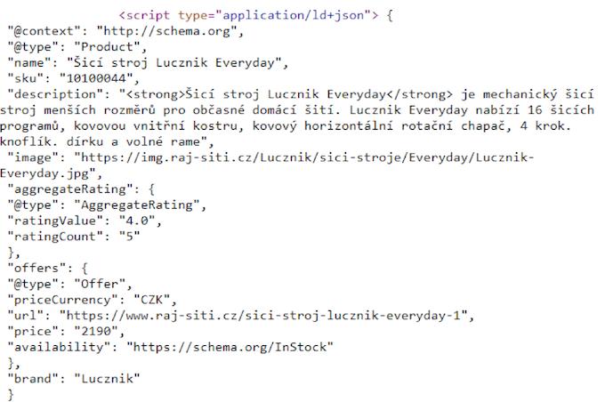 script ve formátu JSON-LD