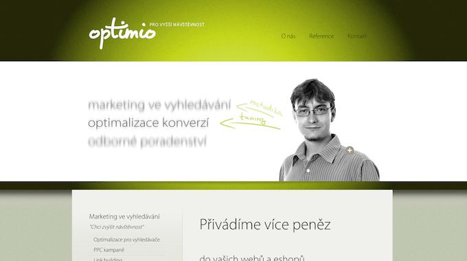 Předchozí web vznikl v roce 2009. Logo, které Optimio doteď používá, navrhlo studio David Geč.