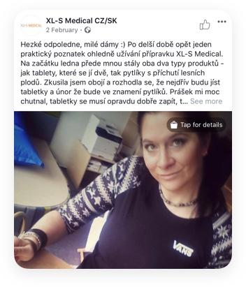 Ukázka facebookového příspěvku Ájy o XL-S medical